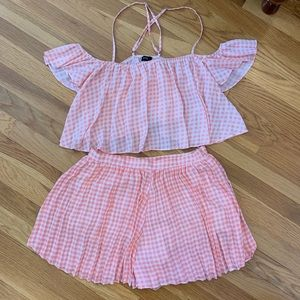 Lucca Couture Dresses - Lucca Couture Pink Gingham Short & Top Set